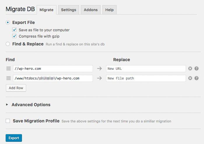 WP Migrate DB Einstellungen WordPress SSL