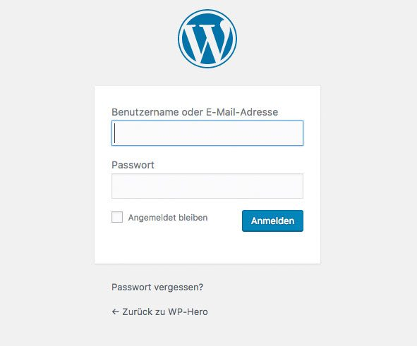 WordPress Anmeldemaske - WordPress einloggen