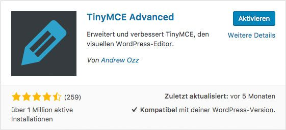 TinyMCE Advanced Plugin - WordPress Tabellen erstellen
