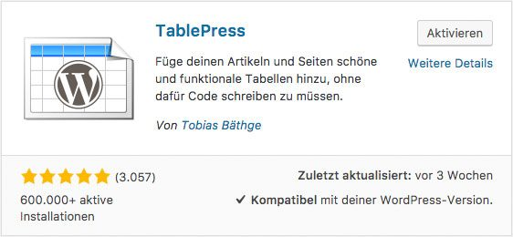 WordPress Tabellen erstellen TablePress