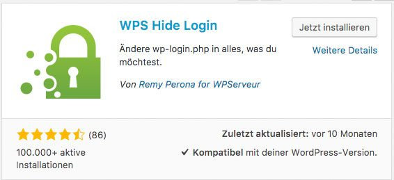 WPS Hide Login Installation - WordPress einloggen