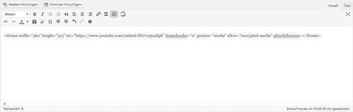 Iframe in WordPress einbinden - Iframe im Visuellen Editor