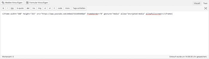 Iframe in WordPress einbinden - Iframe im HTML Modus einbinden