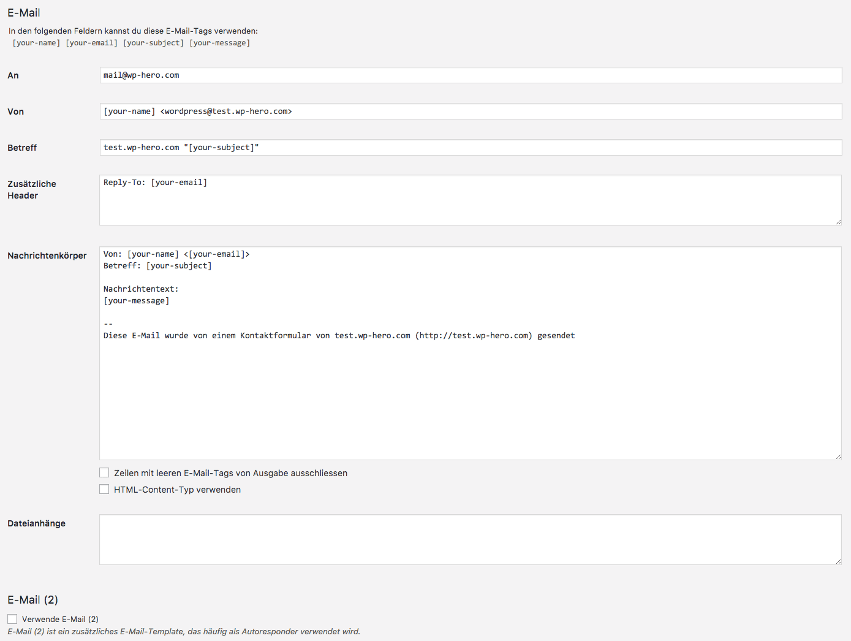 E-Mail Optionen