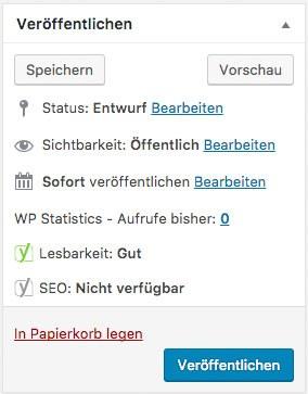 WordPress Seite mit Passwort schützen - Veröffentlichen