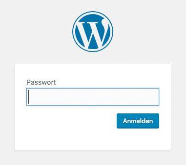 WordPress Seite mit Passwort schützen - Frontendansicht Password Protected