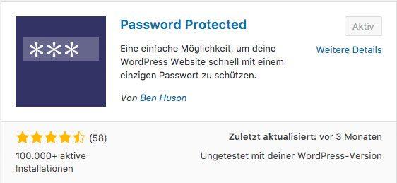 WordPress Seite mit Passwort schützen - Password Protected