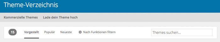 WordPress Theme installieren Filterung Repository