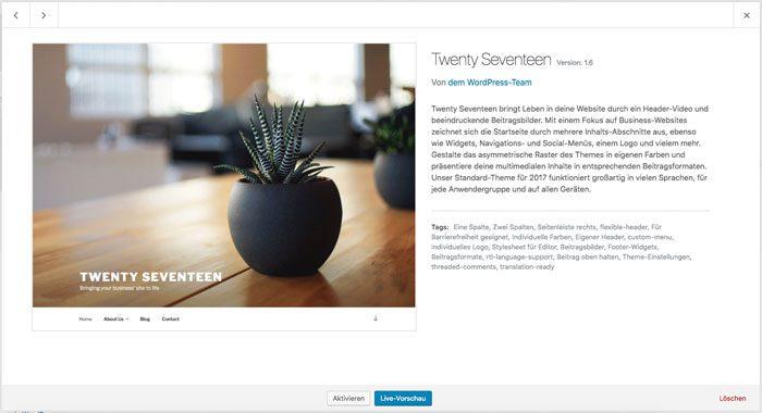 WordPress Theme löschen - Theme details