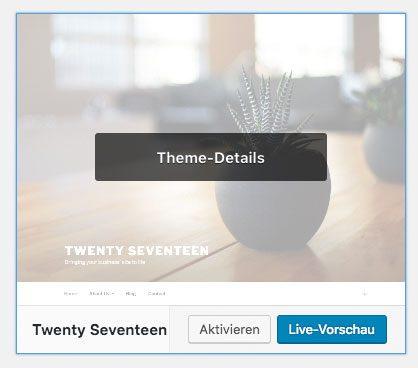 WordPress Theme löschen Theme Details