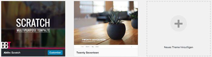 WordPress Theme löschen Theme Übersicht
