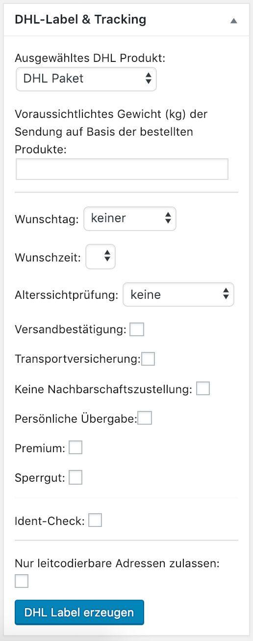 WooCommerce automatisch DHL Versandlabel erstellen - Bestellungen
